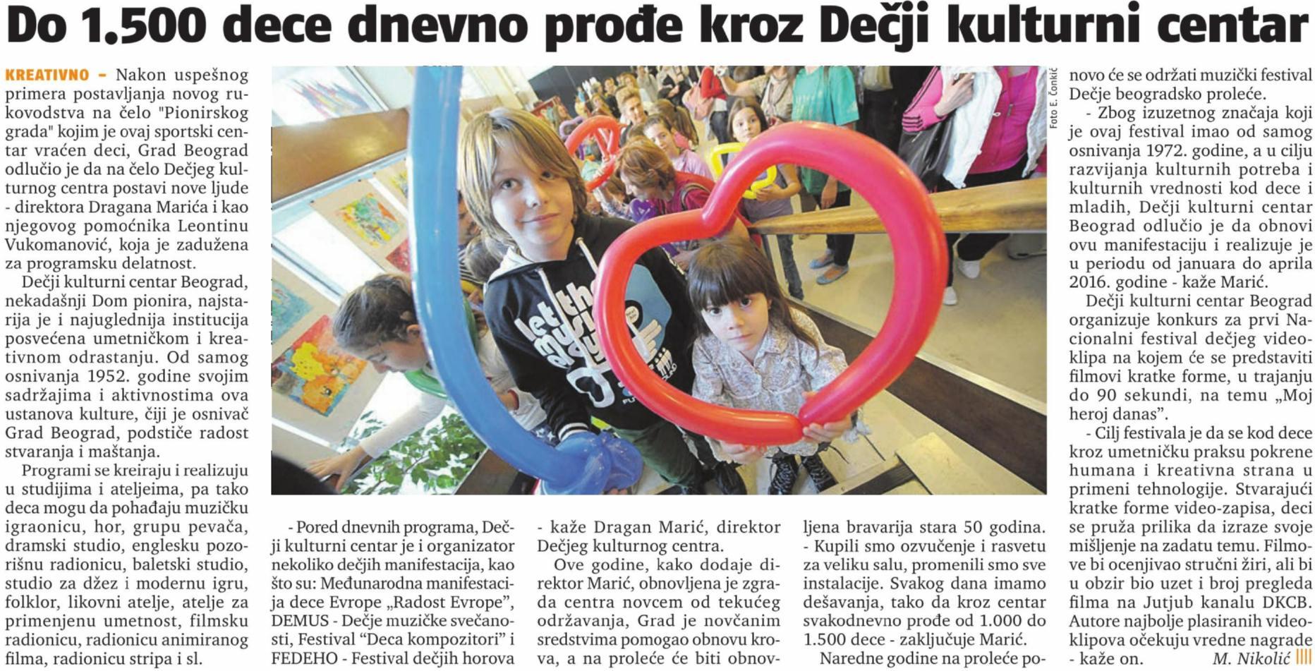 20151214 24 sata - Do 1500 dece dnevno prodje kroz DKCB